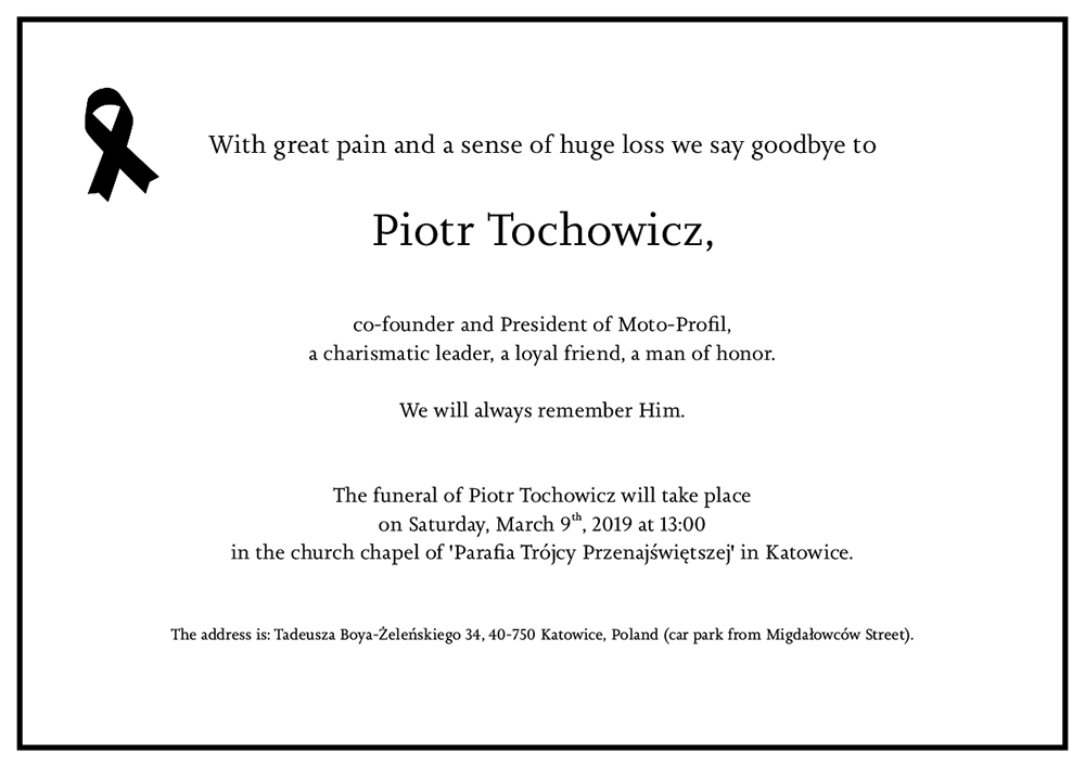 Funeral of Piotr Tochowicz, Moto-Profil President